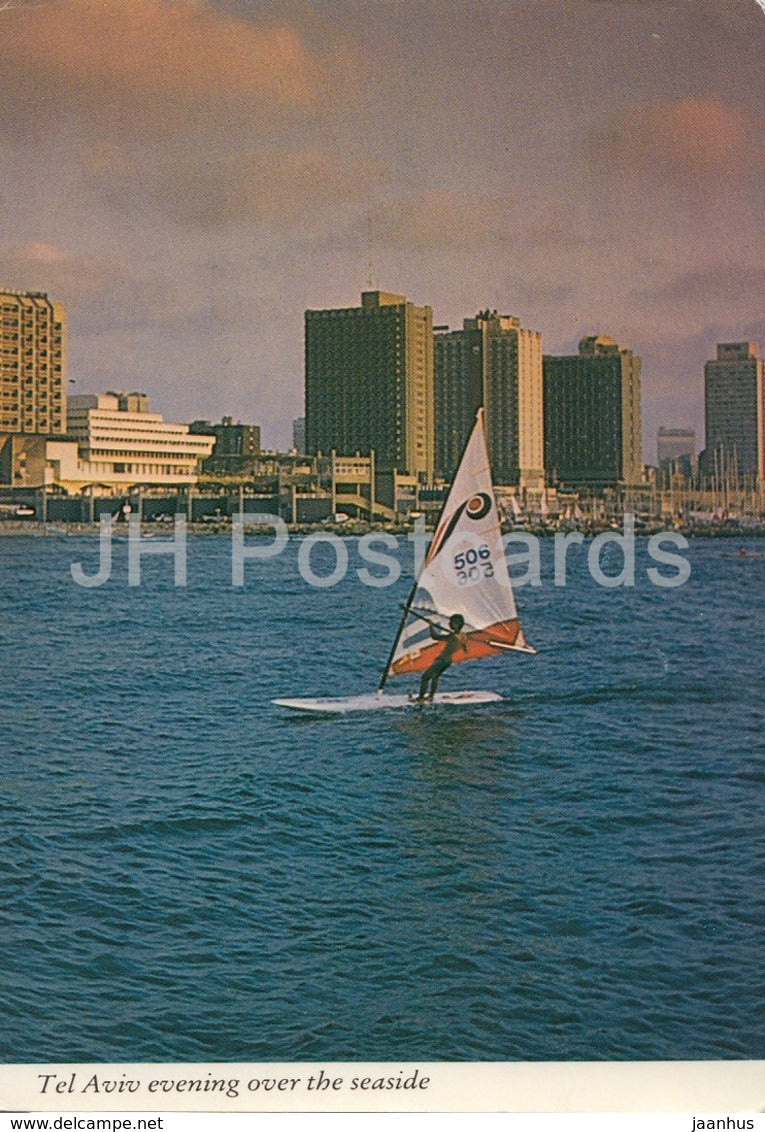 Tel Aviv evening over the seaside - windsurf - Israel - used - JH Postcards
