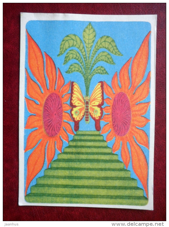 illustration by V. Vinn - butterfly - 1971 - Estonia USSR - unused - JH Postcards