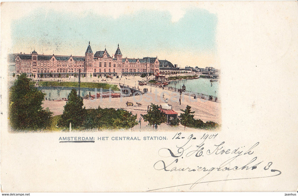 Amsterdam - Het Centraal Station - railway station - old postcard - 1901 - Netherlands - used - JH Postcards