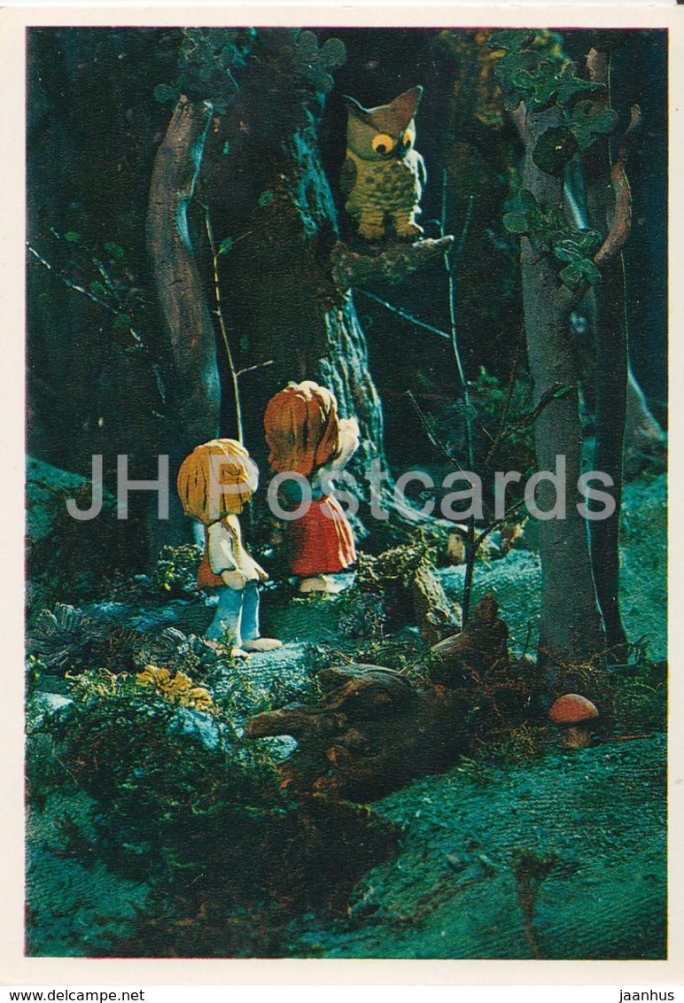 Hansel and Gretel by Brothers Grimm - owl - mushroom - dolls - Fairy Tale - 1975 - Russia USSR - unused - JH Postcards