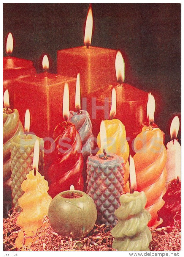 New Year Greeting Card - 1 - different shape candles - 1978 - Estonia USSR - used - JH Postcards