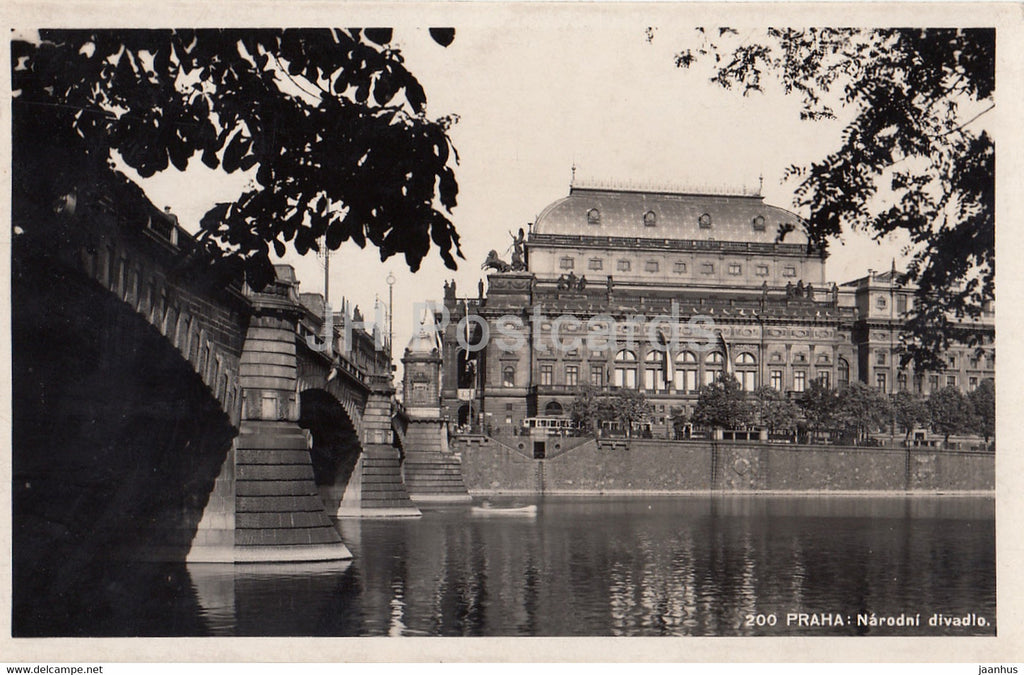 Praha - Prague - Narodni Divadlo - National Theatre - 200 - old postcard - Czech Republic - unused - JH Postcards