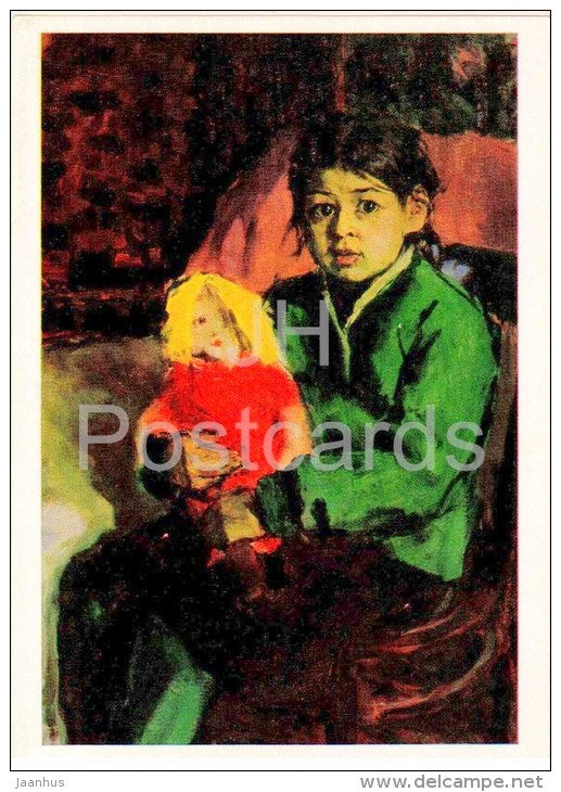 painting by A. Abdullaev - portrait of a girl Shaklha , 1959 - girl with a doll - uzbekistan art - unused - JH Postcards