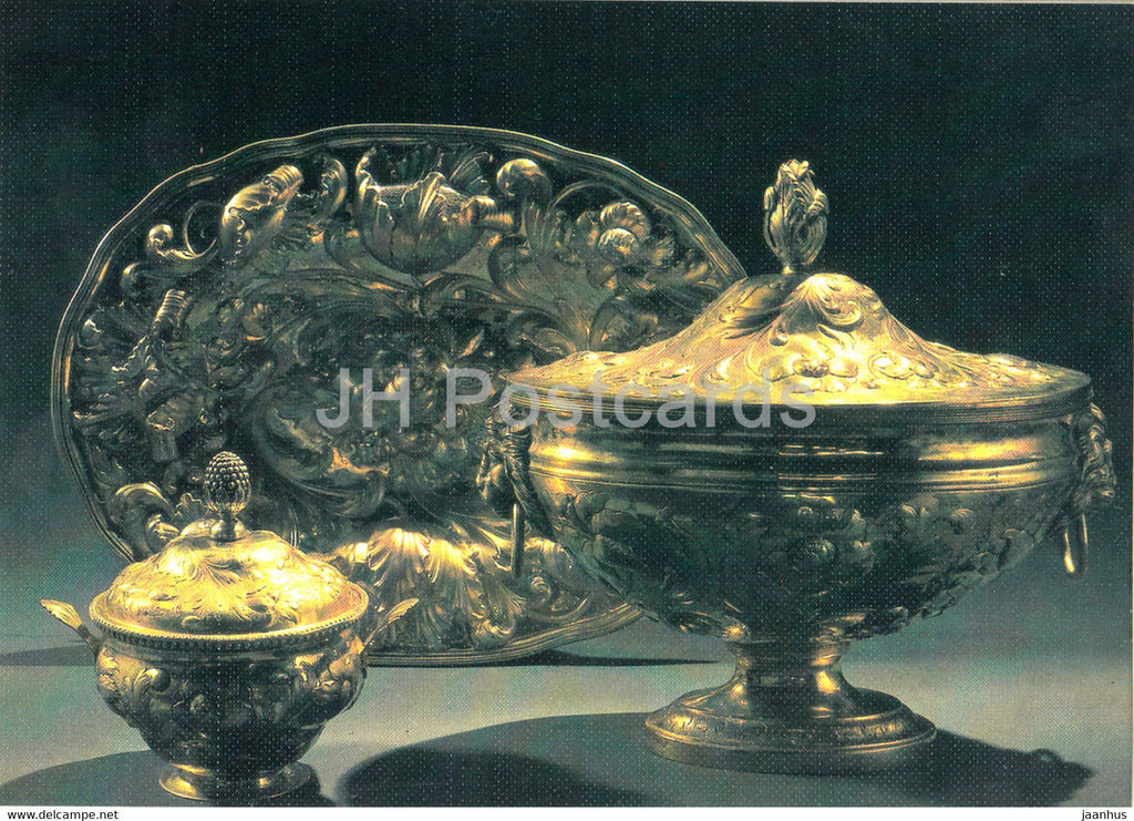 Dish , Bowl - Russian Silver Craft - art - 1986 - Russia USSR - used - JH Postcards