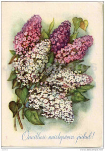 8 March International Women's Day greeting card - flowers - lilac - 1959 - Estonia USSR - used - JH Postcards