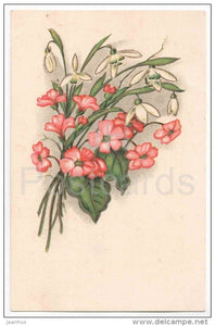 Greeting Card - snowdrop - flowers - KJ Tartu 5 - old postcard - circulated in Estonia - JH Postcards