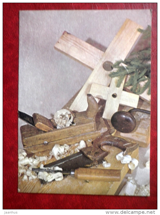 New Year Greeting card - planer - saw - chisel - Christmas tree stand - 1989 - Estonia USSR - used - JH Postcards