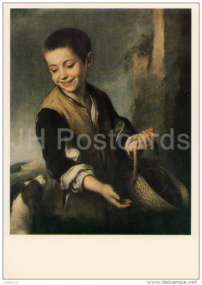 painting by Bartolome Esteban Murillo - Boy with a Dog , 1650s - Spanish art - Russia USSR - 1982 - unused - JH Postcards