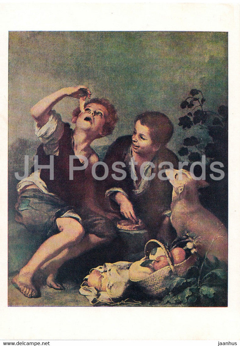 painting by B E Murillo - Die pastetenesser - children - dog - Spanish art - 1971 - Germany - unused - JH Postcards