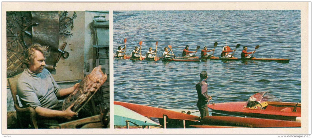 artist Yuri Tyukalov olympic champion in rowing - rowers training - Leningrad - 1980 - Russia USSR - unused - JH Postcards
