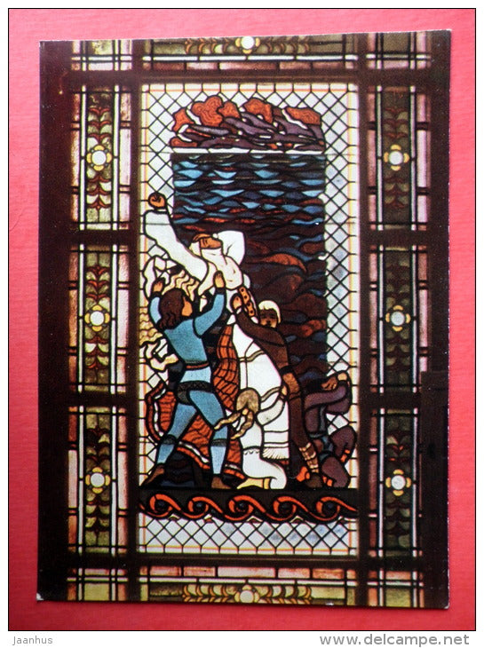 Stained-Glass window - Egle Queen of Grass-Snakes - Druskininkai - 1966 - Lithuania USSR - unused - JH Postcards
