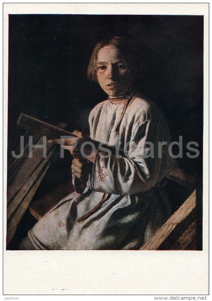 painting by L. Plakhov - Peasant Boy with Sliver - Russian art - 1958 - Russia USSR - unused - JH Postcards