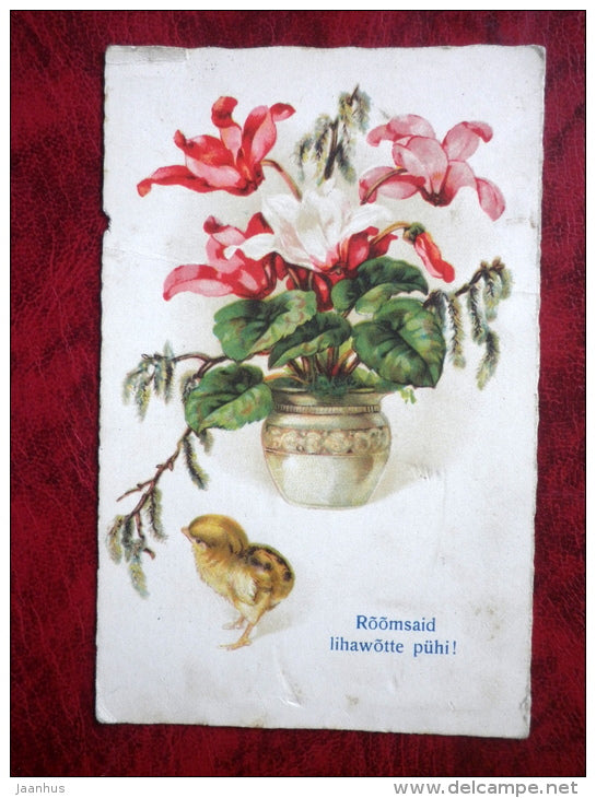 Easter  card - chicken - flowers - 1930s - Estonia - used - JH Postcards