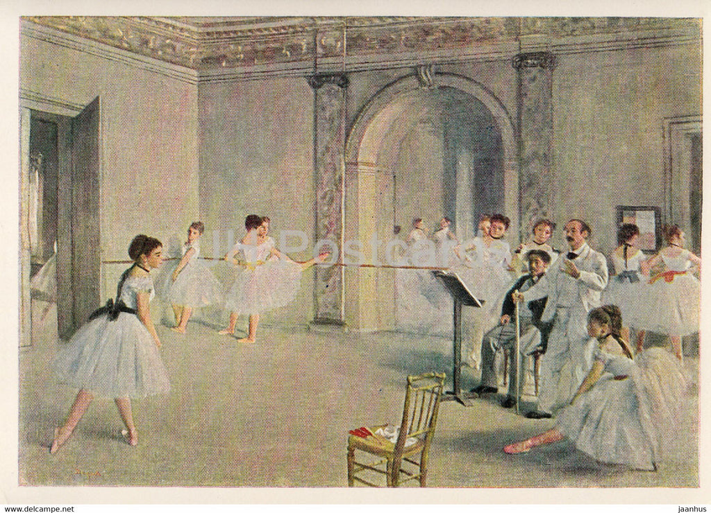 painting by Edgar Degas - Ballettsaal in der Oper - Study at the Opera - Ballet - French art - Germany - unused - JH Postcards
