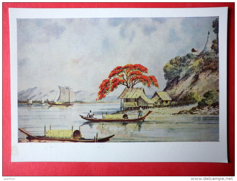 painting by Ba San - Lake Inle , 1950s - sailing boat - Birma - burmese art - unused - JH Postcards