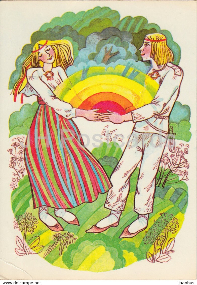 illustration by I. Raudsepp - Dawn and Dusk - folk costumes - Estonian Fairy Tales - 1979 - Estonia USSR - unused - JH Postcards