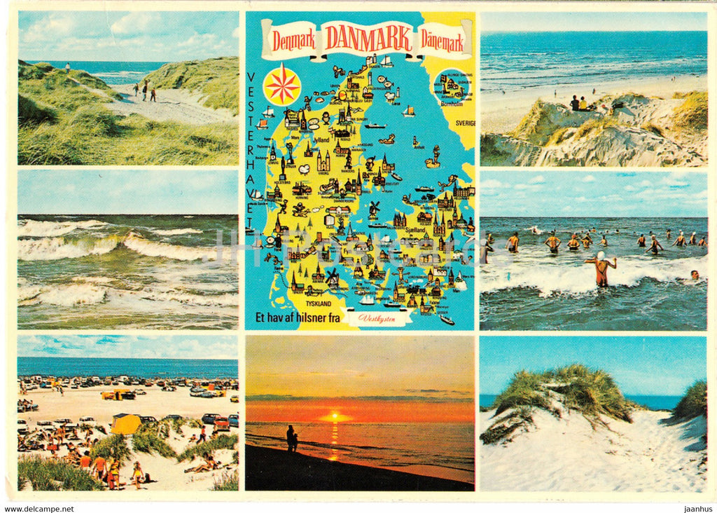 Vesterhavet - map - beach - multiview - Denmark - used - JH Postcards
