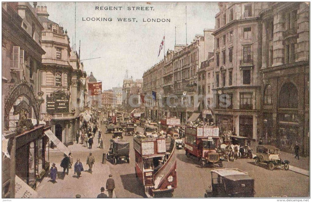 Regent Street - Looking West - old cars - Valentine´s Valesque Series - London - England - old postcard - unused - JH Postcards