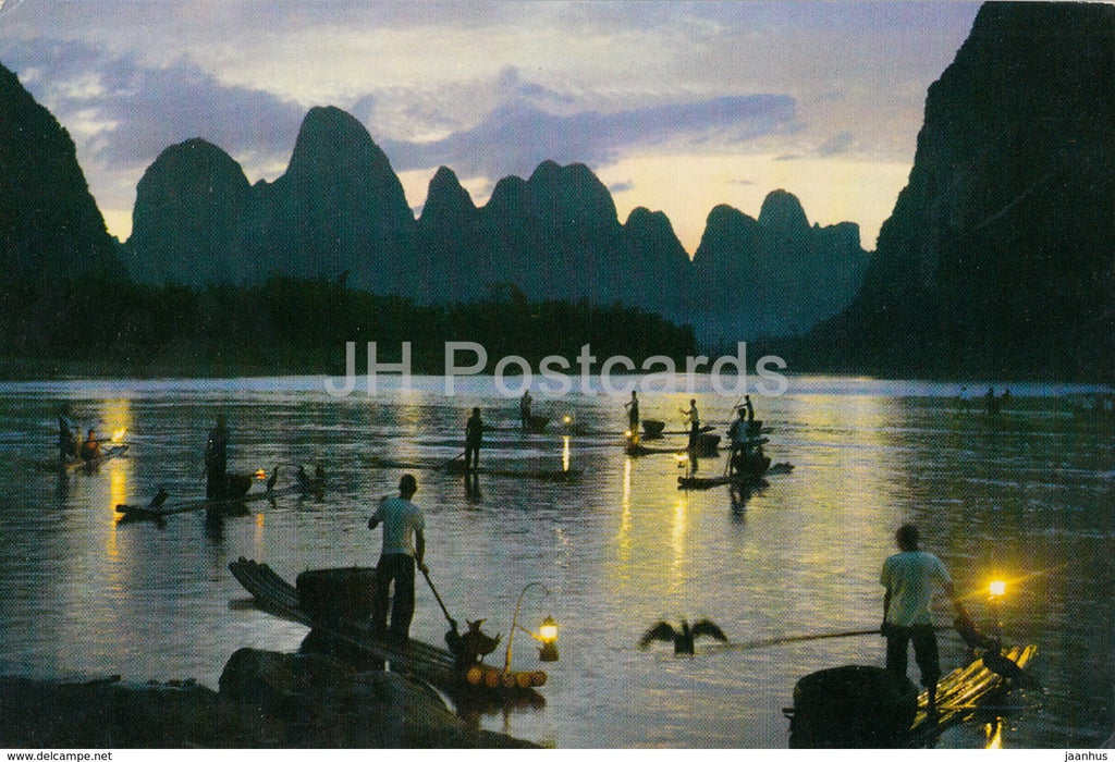 Kweilin - Guilin - Evening on Likiang River - cormorant fishing - 1973 - China - unused