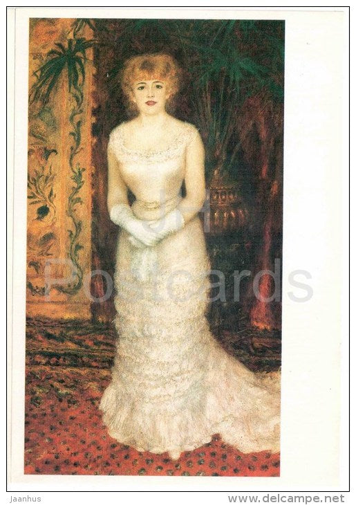 painting by Auguste Renoir - Portrait of actress Jeanne Samary - large format card - Impressionism - french art - unused - JH Postcards