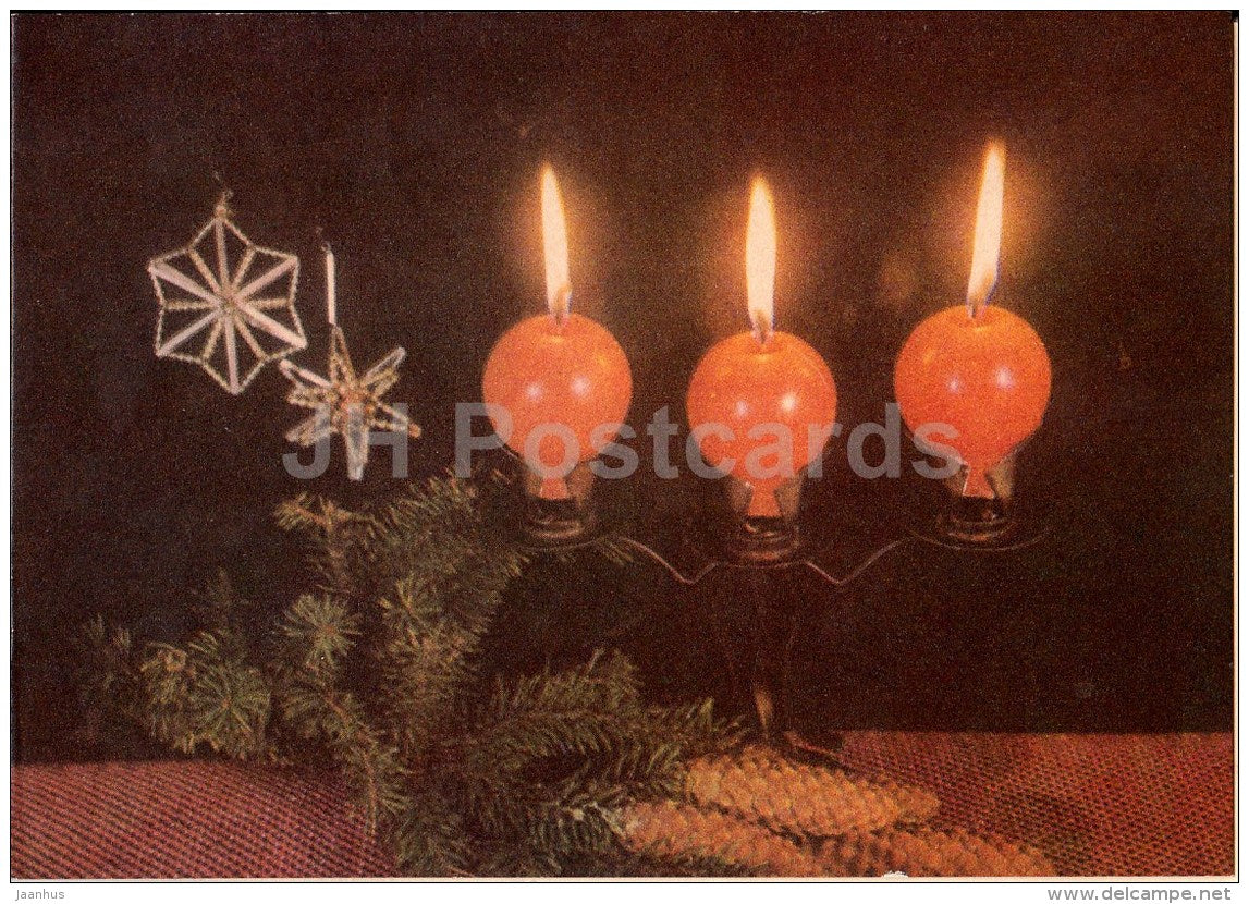 New Year Greeting card - 2 - cones - decorations - candles - 1971 - Estonia USSR - used - JH Postcards