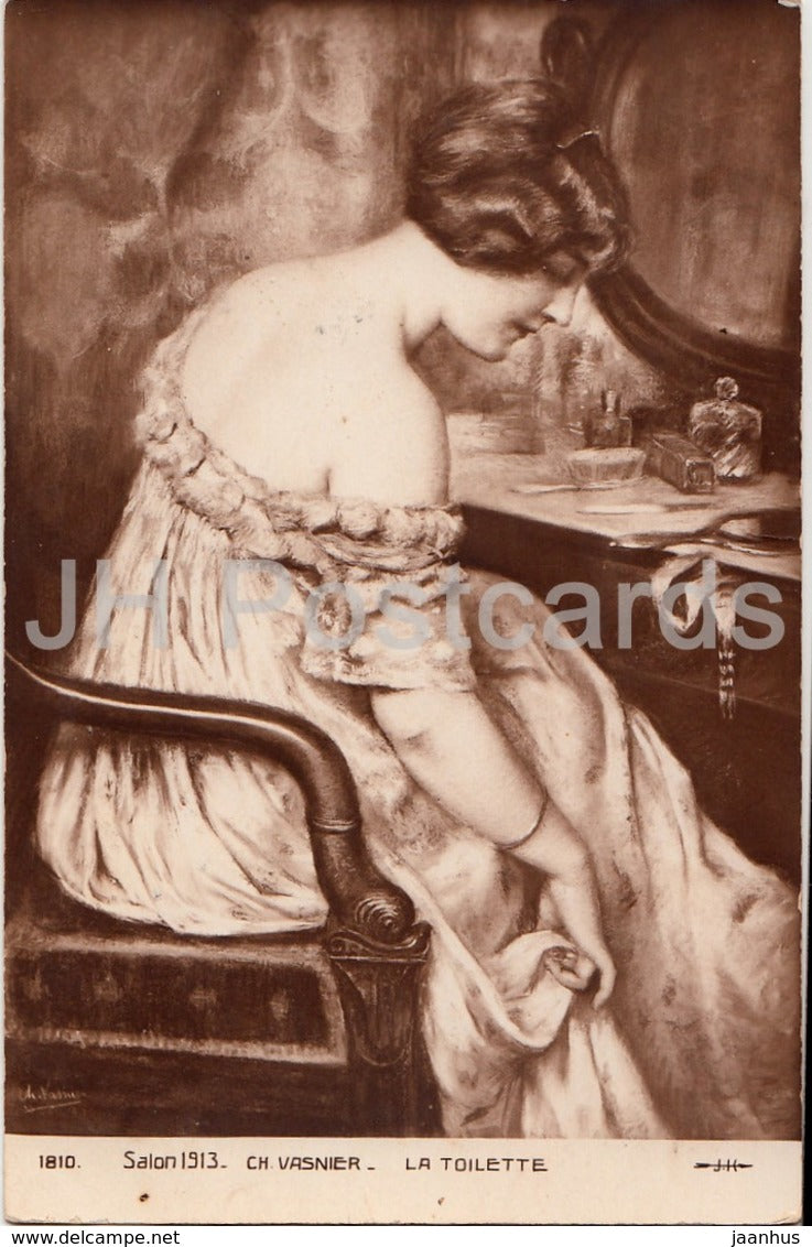 painting by Ch. Vasnier - La Toilette - Salon 1913 - 1810 - French art - Imperial Russia - unused - JH Postcards
