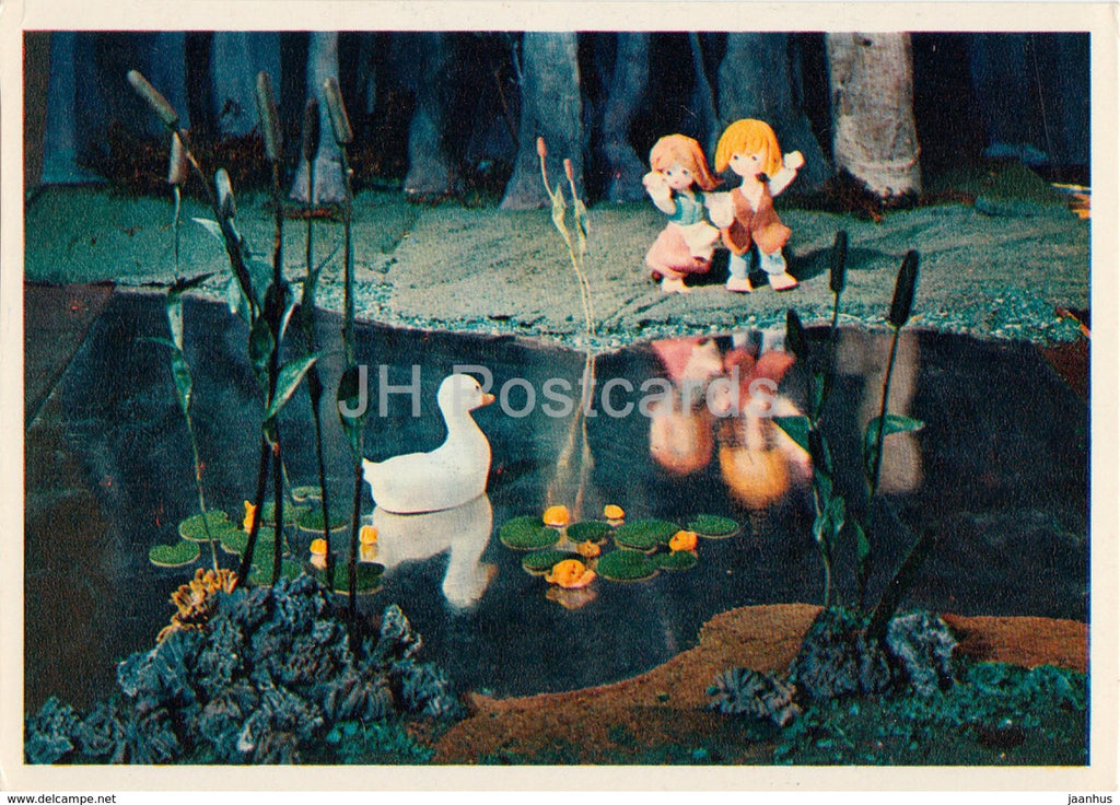 Hansel and Gretel by Brothers Grimm - goose - dolls - Fairy Tale - 1975 - Russia USSR - unused - JH Postcards