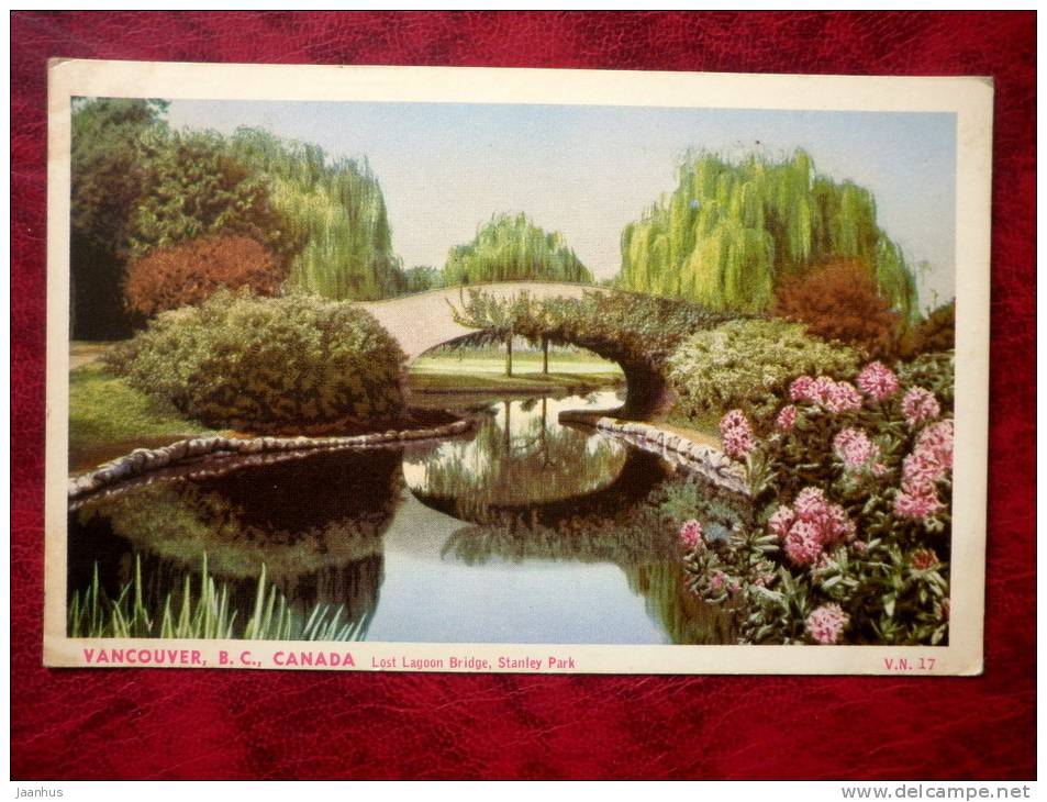 Lost Lagoon Bridge, Stanley Park - Vancouver - British Columbia - sent in 1962 - Canada - used - JH Postcards