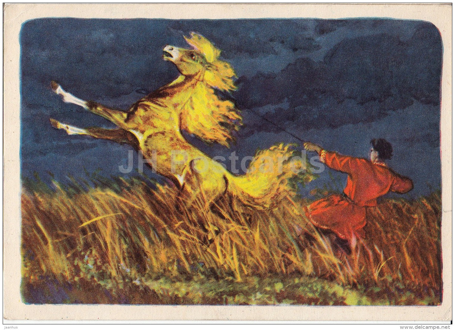 illustration by N. Kochergin - Sivka Burka - horse - 1957 - Russia USSR - unused - JH Postcards