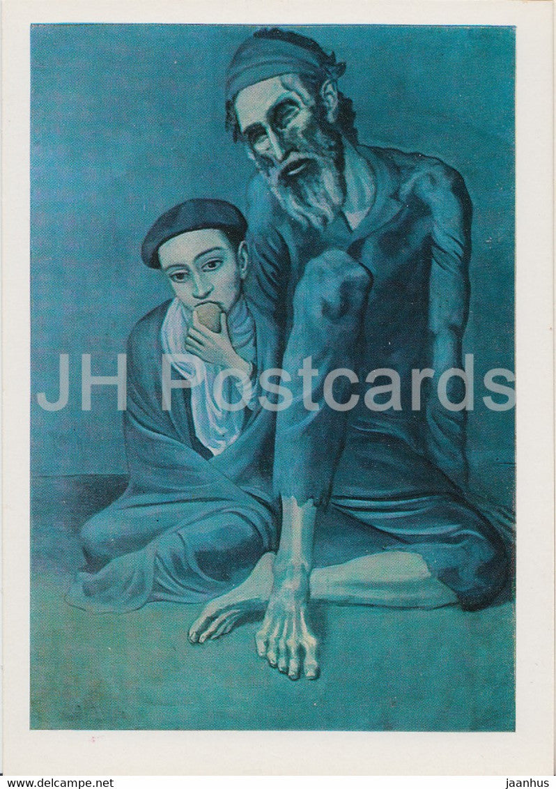 painting by Pablo Picasso - Old beggar with boy - Spanish art - 1982 - Russia USSR - unused - JH Postcards