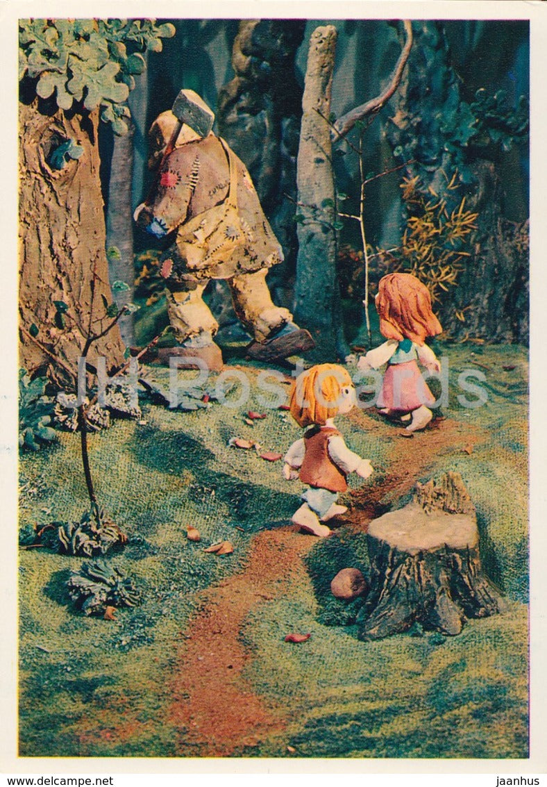 Hansel and Gretel by Brothers Grimm - lumberman - dolls - Fairy Tale - 1975 - Russia USSR - unused - JH Postcards