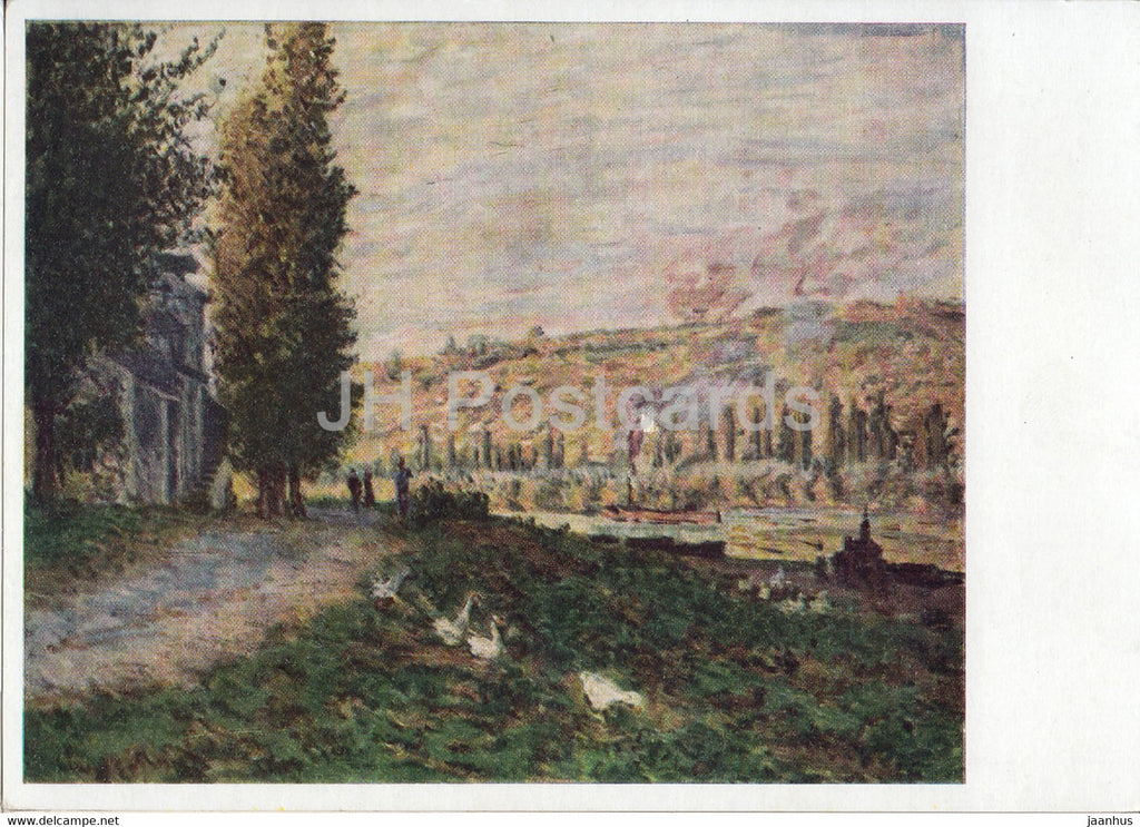 painting by Claude Monet - Selneboschung bei Lavacourt - Seine - French art - Germany DDR - unused - JH Postcards