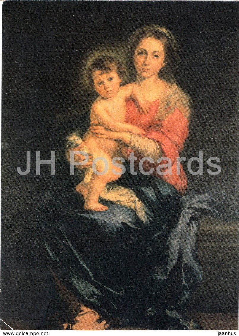 painting by B E Murillo - Madonna with Kind - Madonna with Child - Spanish art - Germany - unused - JH Postcards