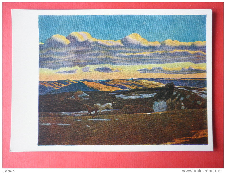 painting by Rockwell Kent - Spring Fever . Berkshire Hills in Massachusetts . 1908 - horse - art of USA - unused - JH Postcards