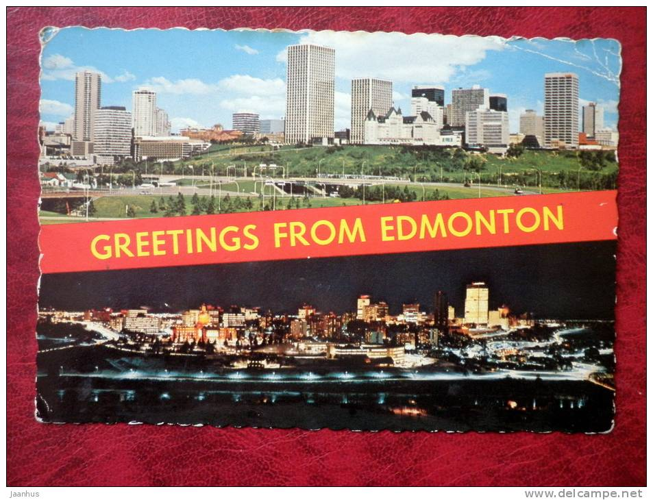 Greetings from Edmonton - panoramic view at city - Alberta - sent in 1982 - Canada - used - JH Postcards