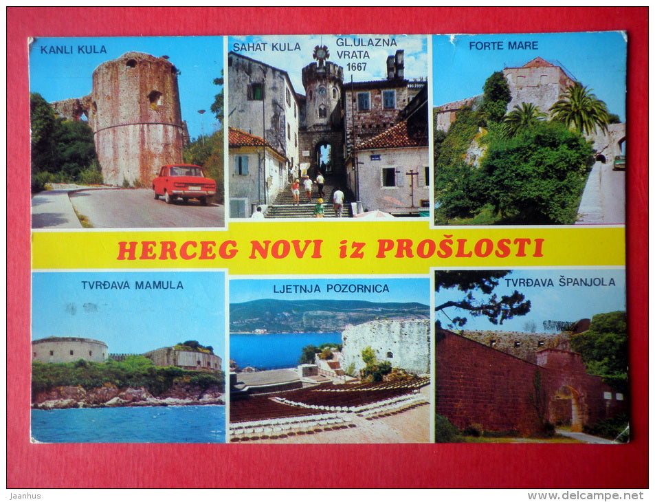 streets - fortress - airplane - 0870 - Herceg Novi - Montenegro - Yugoslavia - sent from Yugoslavia to Estonia USSR 1988 - JH Postcards