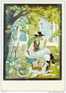 illustration - girl and father - dog - Don´t Cry Mushroom by D. Mrazkova - fairy tale  - 1979 - Russia USSR - unus - JH Postcards