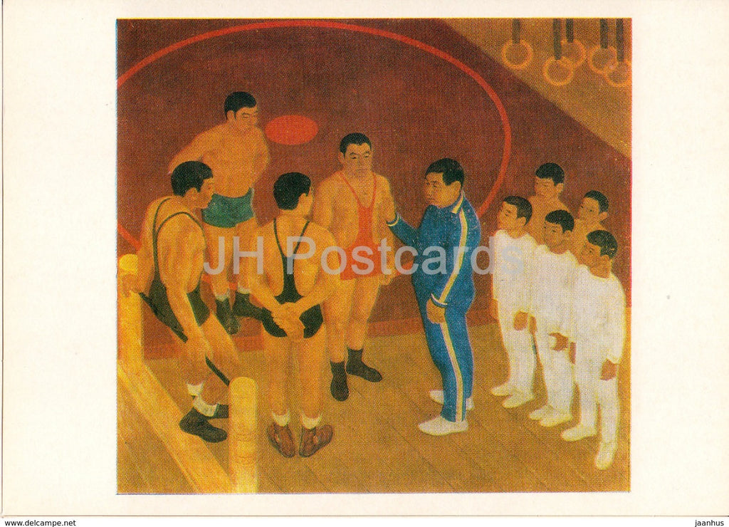 painting by A. Osipov - P. Korkin - Honoured Wrestling Trainer - Sport - Soviet art - 1978 - Russia USSR - unused