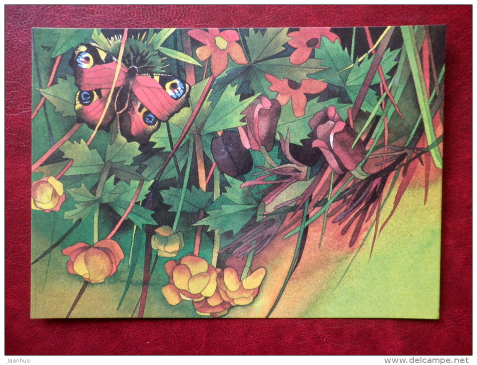 Greeting card - by R. Lukk - butterfly - globe-flower - flowers - 1985 - Estonia USSR - used - JH Postcards
