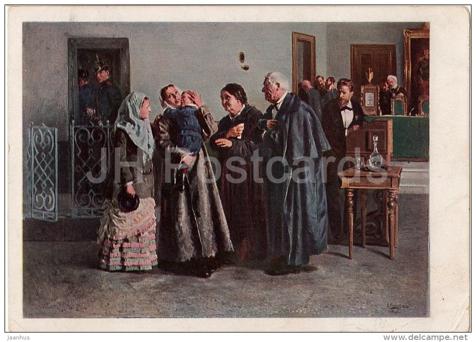 painting by V. Makovsky - Justifiable , 1882 - court - Russian art - 1930 - Russia USSR - unused - JH Postcards