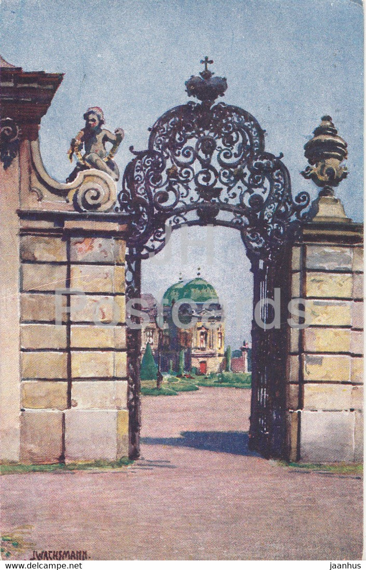 Wien - Belvedere - Oberer Eingang - illustration by J. Wachsmann - 846 - old postcard - Austria - used - JH Postcards