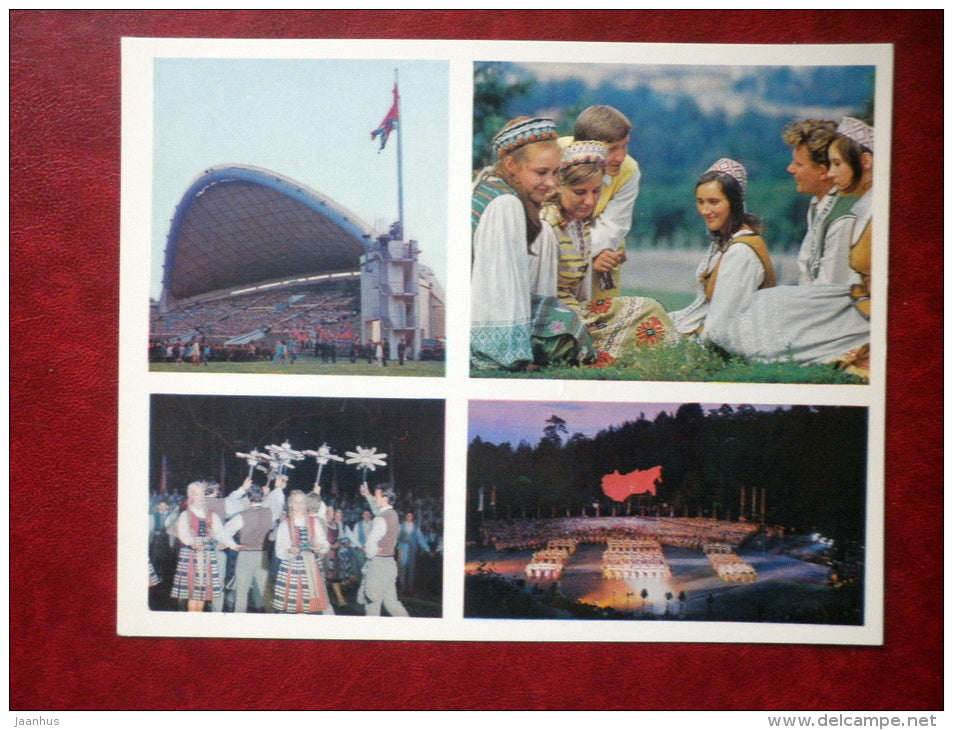 Song and Dance Festival - folk costumes - large format postcard - Vilnius - 1974 - Lithuania USSR - unused - JH Postcards
