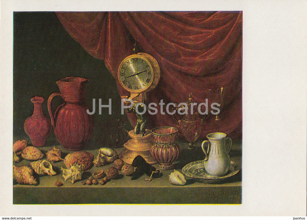 painting by Antonio de Pereda - Still Life with Clock - shell - jug - Spanish art - 1982 - Russia USSR - unused - JH Postcards