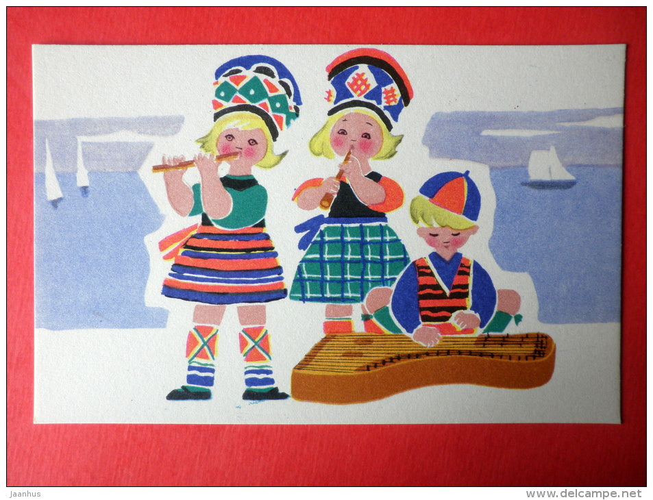 illustration by E. Rapoport - folk costumes and national instruments - 15 - Young Musicians - 1969 - Russia USSR -unused - JH Postcards
