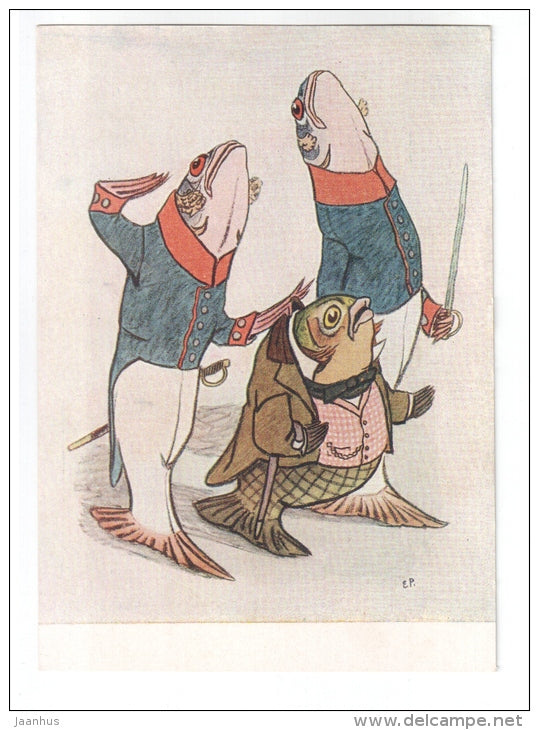 illustration by E. Ratchev to the fairy tale by Saltykov-Shchedrin Carp the Idealist - fishes - 1957 - unused - JH Postcards