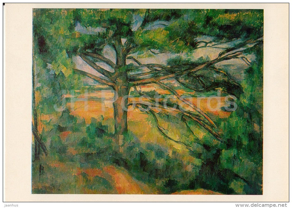 illustration by Paule Cezanne - Pine Tree near Aix , 1890s - French Art - 1982 - Russia USSR - unused - JH Postcards