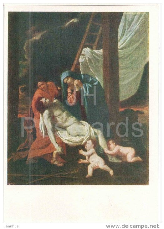 painting by Nicolas Poussin , Descent from the Cross - french art - unused - JH Postcards