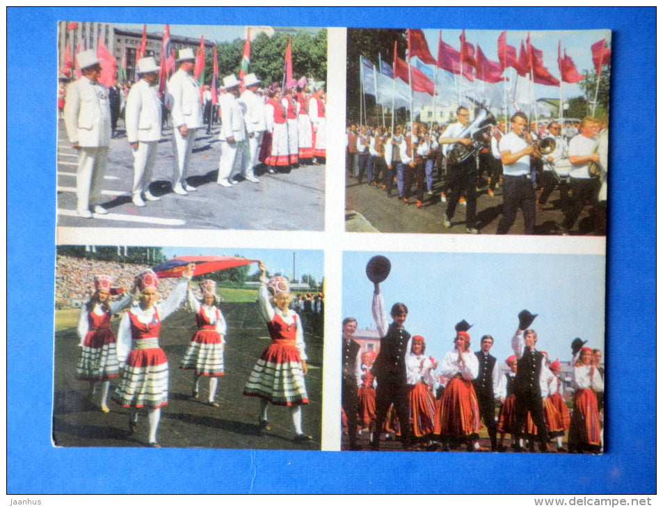 Estonian folk dancers 9 - folk costumes - dance festival - large format card - 1975 - Estonia USSR - unused - JH Postcards
