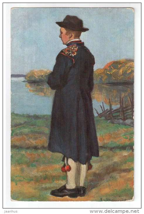party folk costume from Leksand parish Dalarna , Norway - Nordiska Museet - 66009 - signed - old postcard - unused - JH Postcards
