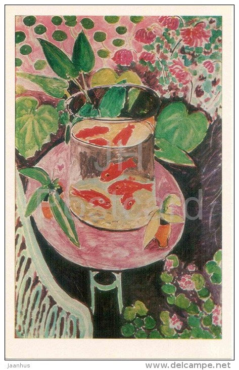 painting by Henri Matisse - Goldfish , 1911 - french art - unused - JH Postcards